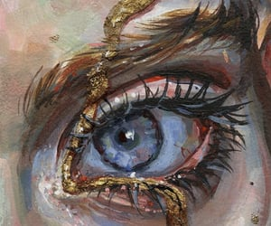 art, eye, and gold image