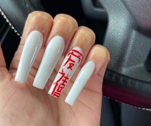 long nails, white nails, and red nail designs image