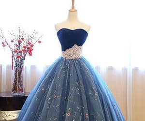 ball gown, blue, and long prom dress image