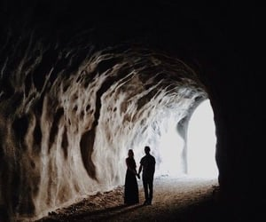 cave, couple, and dark image
