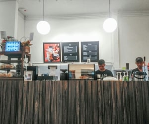 bartender, coffee, and coffee shop image