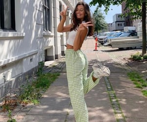 fashion, gingham, and green image
