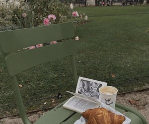 coffee, croissant, and paris image