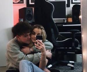 couple, denim, and hug image