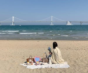 beach, sand, and girl image