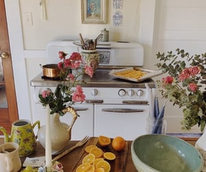 flowers, kitchen, and vintage image