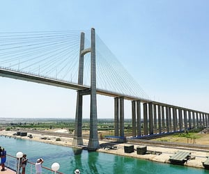 egypt, suez canal, and mubarak peace bridge image