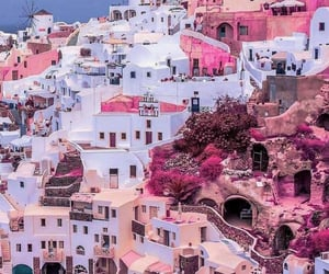 Greece, pink, and santorini image