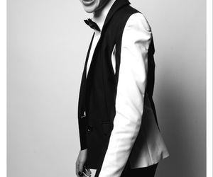 black and white, bow tie, and formal wear image