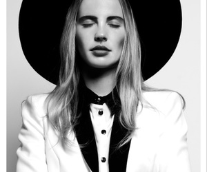 black and white, blonde, and blouse image
