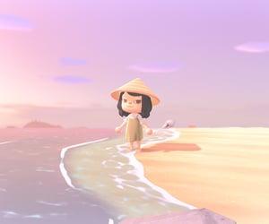 animal crossing, beach, and girl image