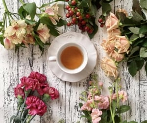 beautiful, cup of tea, and flowers image