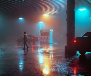 gas station, car, and light image