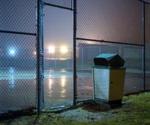 night, fence, and fog image