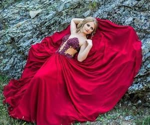 beading, red, and fashion prom dress image