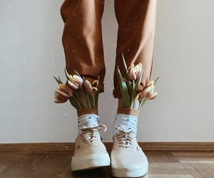 flowers, girl, and shoes image