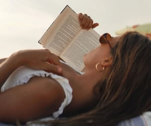 beach, fashion, and reading image