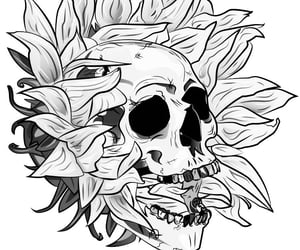 skull and sunflower image