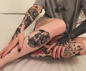 tattoo, girl, and body image