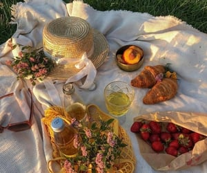 food, picnic, and strawberry image