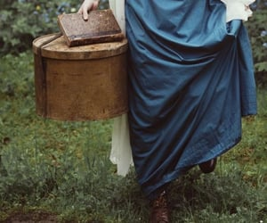 blue dress, cloudy, and old book image