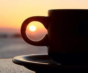 coffee, cup, and sunset image
