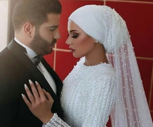 couple, hijab, and pearls image