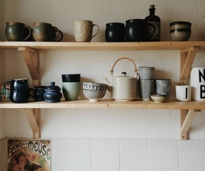 ceramics, open shelves, and tea image
