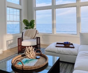 living room, house, and ocean image