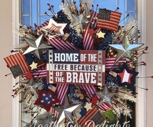 etsy, stars and stripes, and wreath image