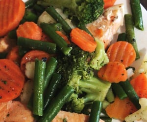 favorite food, proper nutrition, and fish and vegetables image