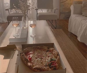 home, pizza, and wine image