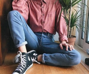 all star, jeans, and plants image