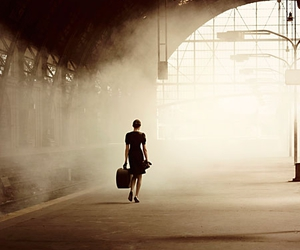 woman, train station, and train image