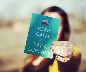 cupcake, keep calm, and girl image