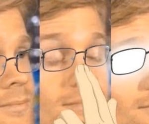 anime, reaction pic, and glasses image