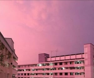 building, pink, and pinky image