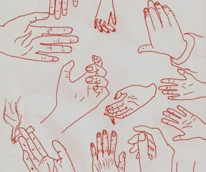 art, hands, and red image