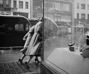 vintage, black and white, and rain image