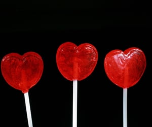 red, heart, and lollipop image