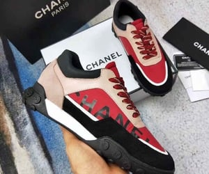 chanel, chanel sneakers, and red image