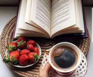 book, strawberry, and coffee image