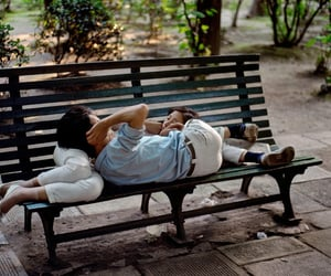 love, couple, and bench image