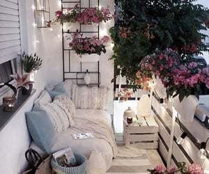 flowers, balcony, and home image