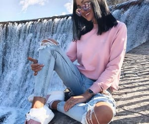 black, jeans, and pink image