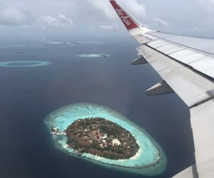 beach, Maldives, and plane image