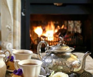 cozy, teacups, and fireplace image