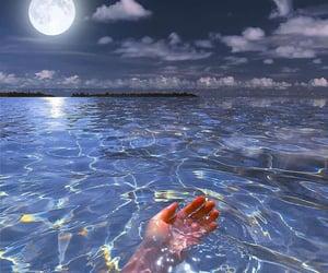 moon, water, and ocean image