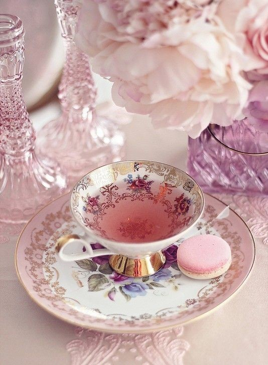 tea, pink, and flowers image