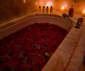 red, rose, and bath image